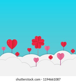 love valentine day background and red heart with vector design