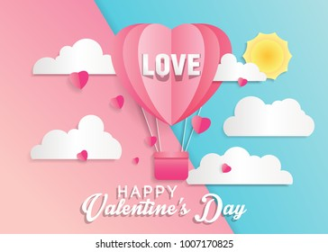 Love and valentine day card with hot air balloon.