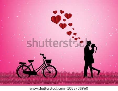 Love Valentine Day Lovers Stand Meadows Paper Stock Vector Royalty