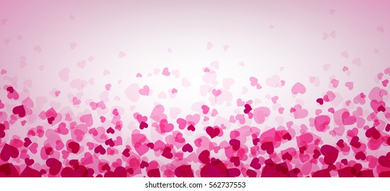Love valentine's banner with pink hearts. Vector illustration.
