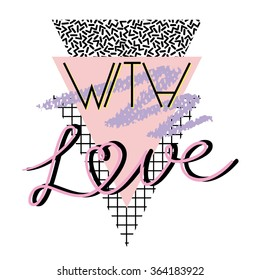 With love - Valentine's day background in retro eighties style 2