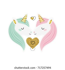 Love. Valentine's day. Cute greeting card with two unicorns and golden heart