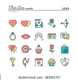 Love, Valentine's day, dating, romance and more, thin line color icons set, vector illustration