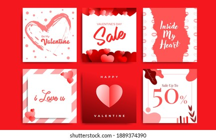 Love and Valentines Day Sale Instagram Post Template Vector Packs