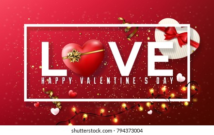 Love Valentine's Day Typographical Background With Elements