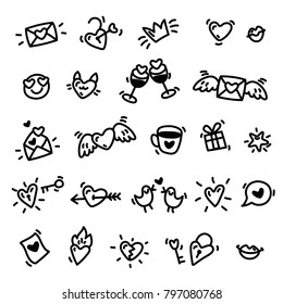 Love vector background with hand drawn hearts. Line art black and white icons. Vector illustration.