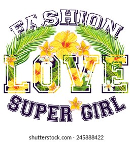 Love. Vector fashion floral artwork for girl summer t shirt with tropical flowers and palm leaves