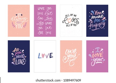 LOVE VECTOR HAND LETTERING POSTCARDS. IT ALWAYS WAS YOU,  LOVE, ALL OF ME LOVES ALL OF YOU, YOU MAKE ME HAPPY, ALL YOU NEED IS LOVE