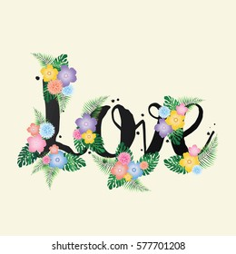 Love- Vector illustration with flowers - eps10