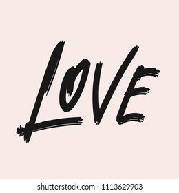 Love vector lettering phrase. Handwritten word. Love calligraphy script. Hand drawn illustration. Typography poster with modern black calligraphic brush painted text isolated on pink background