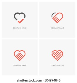Love vector logo set. The heart symbol with check mark, labyrinth and hold hands - valentine, relationship and medicine icons.