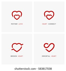 Love vector logo set. Red hearts, mother and child, baby care symbols - family, pregnancy and relationships icons.