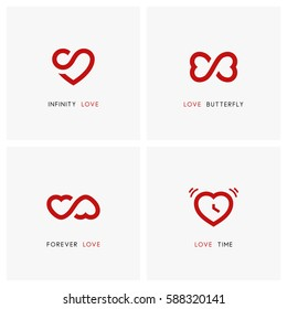 Love vector logo set. Red hearts, time and infinity symbols - valentine, relationship and medicine icons.