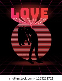 Love. Vector poster with silhouette of thin girl made in vaporwave style. Template for card, banner, print for t-shirt, pin, badge, patch.
