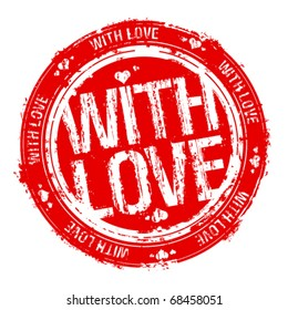 With love vector rubber stamp.