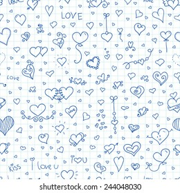 Love vector seamless pattern. Doodle inc hearts on cell background. Ideal for celebration card, wrapping paper for Valentine gift, textile, wallpaper, web pages background, scrap booking