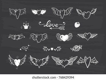 Love Vector Set. Beautiful Doodle Heart tattoo. Hearts with Wings for Valentines Day or Wedding greeting cards. Chalk Board background. Hand drawn illustration