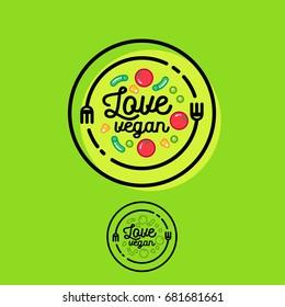 Love vegan logo. Cafe or restaurant emblem. Fork, spoon and vegetables.
