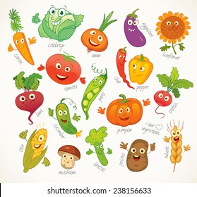 I love vegetables. Funny cartoon character. Vector illustration. Isolated on white background. Set