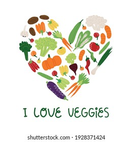 I love veggies hand lettering and various vegetables and greens in heart shape. Vegan, vegetarian banner, card design. Vector cartoon illustration on isolated background.