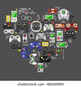 Love video games. Flat design vector illustration of game environment and devices in shape of a heart.
