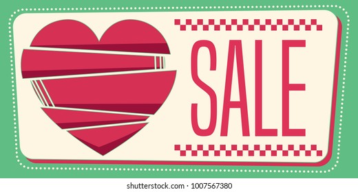 Love vintage sale banner. Composition in 50's style. Vector illustration.