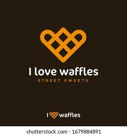 I love waffles logo. Waffle like heart. Love sweets emblem. Yummy emblem. Bakery and cafe logo.