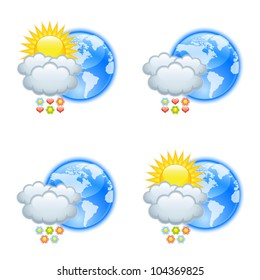 Love weather icons isolated on white