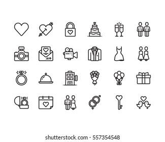 Love and wedding icon set