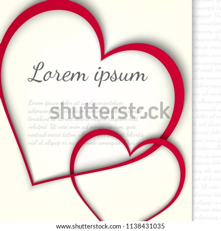 Love Wedding Paper Card Two Hearts Stock Vector Royalty Free