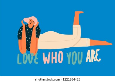 Love who you are inspirational text quote card with chilling and smiling women character