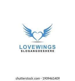 Love wings Logo Template design vector