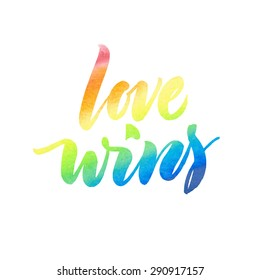 Love wins. Conceptual image with rainbow