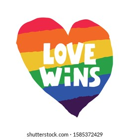 Love wins lettering with rainbow. Slogan against homosexual discrimination Gay parade slogan. LGBT rights symbol. Lettering and trendy typography for poster, placard, t-shirts, cards design