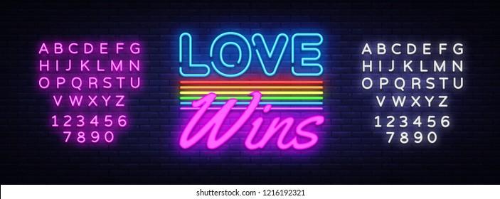 Love Wins Neon Text Vector. Love Wins neon sign, design template, modern trend design, night neon signboard, night bright advertising, light banner. Vector illustration. Editing text neon sign