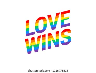 Love wins - Pride month rainbow flag typography with pride rainbow - vector illustration isolated on white background great for t-shirt design