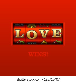 Love wins, slot machine. Vector.
