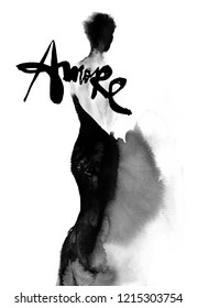 """Love of a woman - ink illustration with """"Amore"""" word"""