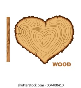 I love wood. Cutting tree as a symbol of heart. Vector illustration. timber rings and bark.