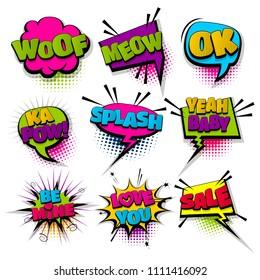 love woof meow ok set hand drawn pictures effects template comics speech bubble halftone dot background pop art style. Comic dialog cloud, text pop-art. Idea conversation sketch explosion.