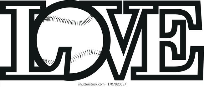 love word ball baseball funny black white logo printable vector template print t shirt
