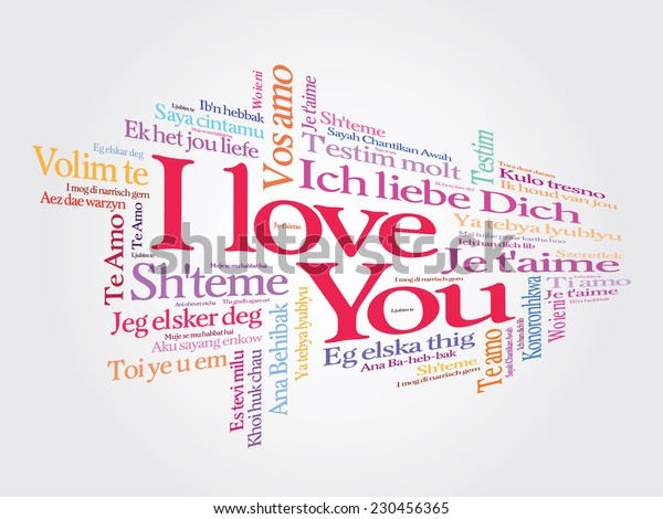 Love word cloud illustration in many languages. Gift card. Valentine's day