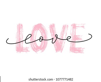 Love word hand drawn lettering. Dry brush texture and love script modern calligraphy word. Grunge vector illustration. Text design for banner. Pink color text on white background.  Graphic Printed tee