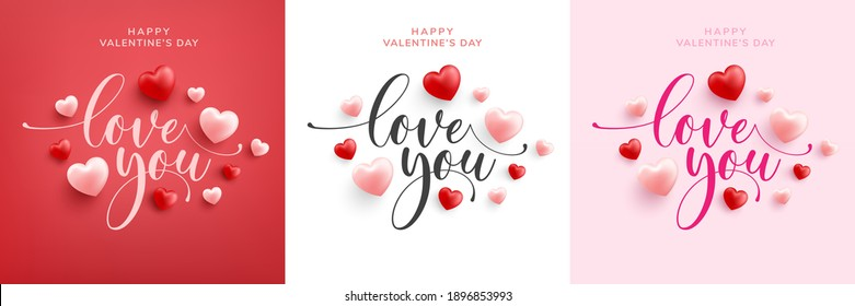 Love word hand drawn lettering and calligraphy with cute heart on red,white and pink background.Valentine's day template or background for Love and Valentine's day concept