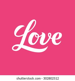 Love word hand lettering. Handmade vector calligraphy