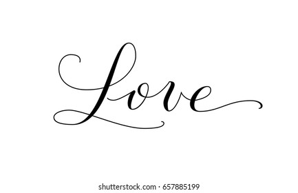 Love Word Hand Written Customigraphy Elegant Ornate Lettering With Swirls And Swashes