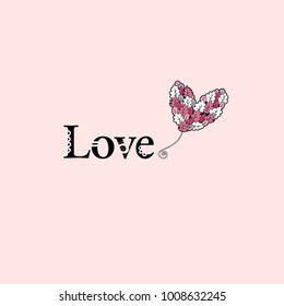 Love word and a heart balloon illustration with leaves and doodles on a pink background