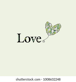 Love word and a heart balloon illustration with leaves and doodles on a green background.