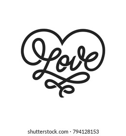 Love word lettering in form of heart. Valentine day romantic handmade typography. Hand drawn calligraphy for t-shirt prints, posters, decor needs. Vector vintage illustration.