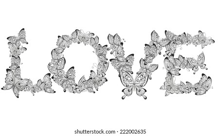 Love word made of butterflies. Vector illustration
